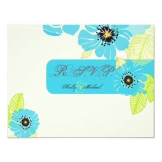 "PixDezines Blue Poppies RSVP cards 4.25"" X 5.5"" Invitation Card"