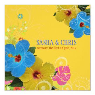 PixDezines blue+yellow hibiscus/diy background Personalized Invites