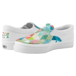 PixDezines Boho Watercolor Geometric/Triangles Slip On Shoes