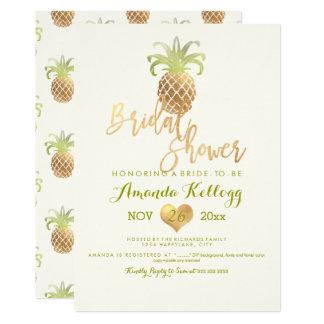 PixDezines Bridal Shower/Faux Gold/Pineapples Card