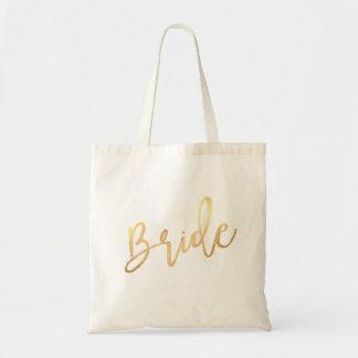 PixDezines Bride/Faux Gold Script Tote Bag