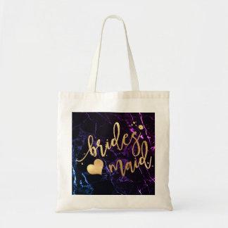 PixDezines Bridesmaid/Faux Gold Script/DIY bckgrnd Tote Bag