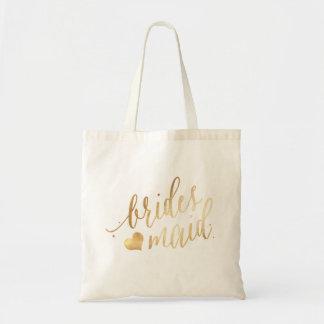 PixDezines Bridesmaid/Faux Gold Script Tote Bag