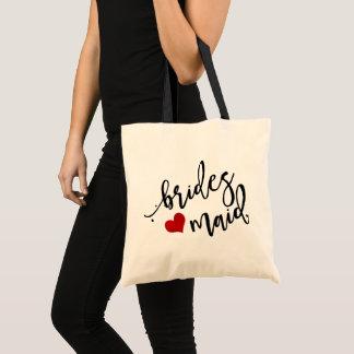 PixDezines Bridesmaid/Heart/Modern Script Tote Bag