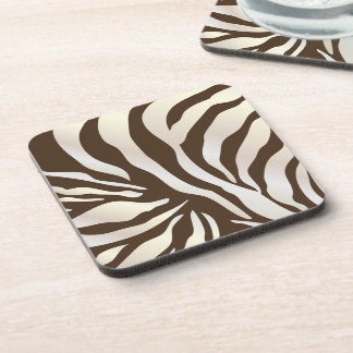 PixDezines Brown Zebra print/DIY colors Beverage Coaster