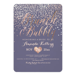 PixDezines Brunch & Bubbly Dazzled in Rose Gold 13 Cm X 18 Cm Invitation Card