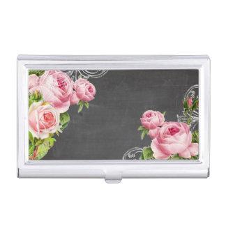 PixDezines Chalkboard/Vintage Roses Business Card Holder