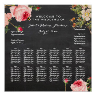 PixDezines chalkboard+vintage roses/seating chart Poster