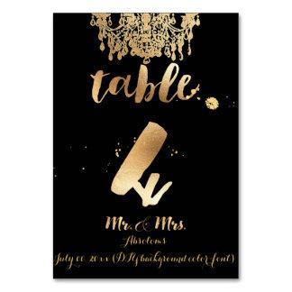 PixDezines Chandelier/Faux Gold/table 4 Table Cards