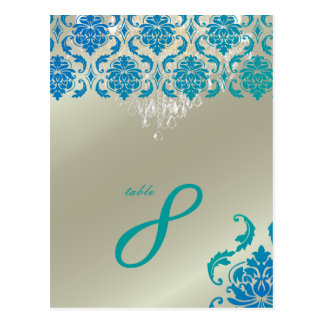 PixDezines Chandelier+Vendome Peacock Damask Postcard