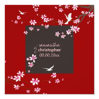 PixDezines Cherry blossom/diy background color 13 Cm X 13 Cm Square Invitation Card