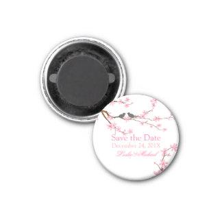 PixDezines Cherry Blossom+love birds 3 Cm Round Magnet
