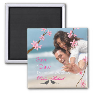 PixDezines Cherry Blossom+love birds Square Magnet