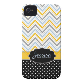 PixDezines Chevron yellow/DIY background color Case-Mate iPhone 4 Case