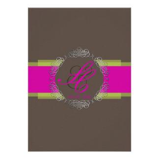 PixDezines Chole Filigree|DIY colors/brown+pink Invitations