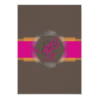 PixDezines Chole Filigree|DIY colors|Orange+pink 5x7 Paper Invitation Card