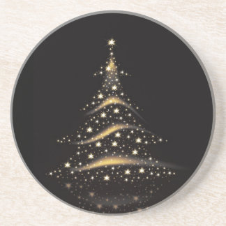 PixDezines Christmas Tree/black+gold Coaster