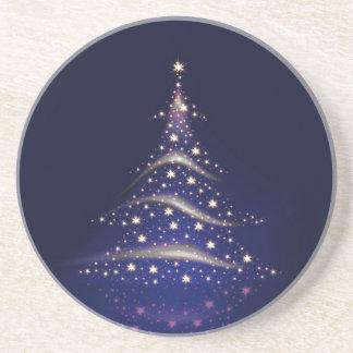 PixDezines Christmas Tree/midnight blue Beverage Coasters