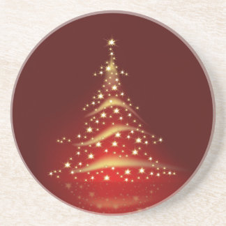 PixDezines Christmas Tree/red+gold Sandstone Coaster