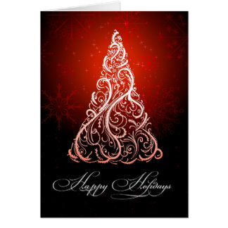 PixDezines Christmas Tree Swirls/ruby red Card