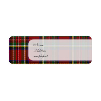 PixDezines clan stewart tartan/red+green Return Address Label
