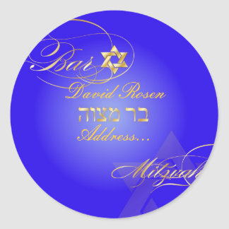 PixDezines Classic Bar Mitzvah/electric blue+gold Classic Round Sticker