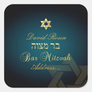 PixDezines Classic Bar Mitzvah/teal Square Stickers