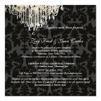 PixDezines Crystal Chandelier + Baroque Damask 13 Cm X 13 Cm Square Invitation Card
