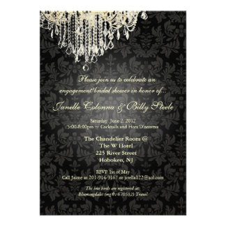 PixDezines Crystal Chandelier+baroque damask Personalized Announcement