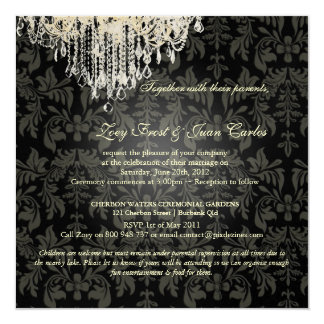 PixDezines Crystal Chandelier + Baroque Damask 5.25x5.25 Square Paper Invitation Card