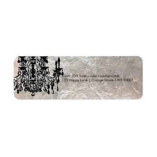 PixDezines crystal chandelier/faux silver foil Return Address Label