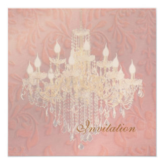 PixDezines Crystal Chandelier, Pink Baroque 13 Cm X 13 Cm Square Invitation Card