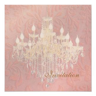 PixDezines Crystal Chandelier, Pink Baroque 13 Cm X 13 Cm Square Invitation Card