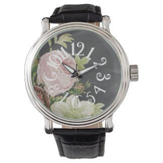 PixDezines curly numeros+chalkboard+roses Wrist Watches