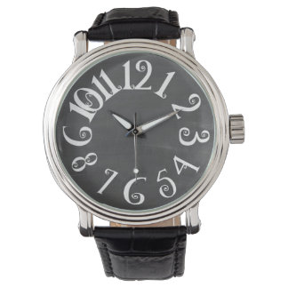 PixDezines curly numeros+chalkboard Wristwatches