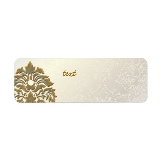 PixDezines Damask 1, Faux Gold + Pearl Return Address Label