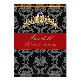 PixDezines Damask Sweet 16/ tiara/black/red velvet Card