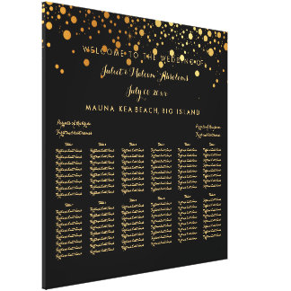 PixDezines dazzled gold/wedding seating chart Gallery Wrapped Canvas