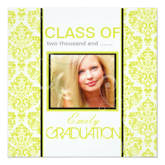 PixDezines diy 2012 graduation, ella damask 13 Cm X 13 Cm Square Invitation Card