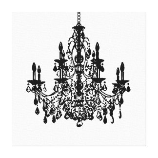PixDezines DIY Background/Black Chandelier Canvas Print