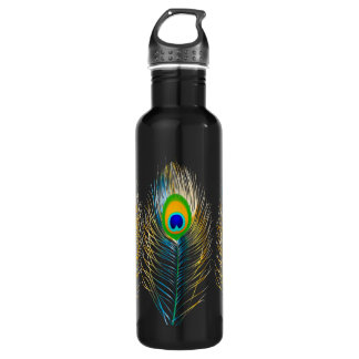 PixDezines diy background color/peacock feather 710 Ml Water Bottle