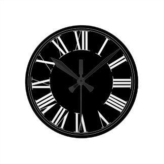 PixDezines DIY Background Color/Roman Numeros Round Clock