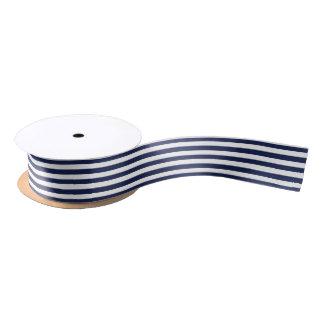 PixDezines DIY color adjustable blue stripes Satin Ribbon