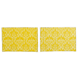 PixDezines DIY color/Rossi Damask/Sunflower Yellow Pillowcase