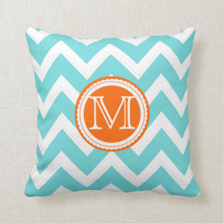 PixDezines diy colors chevron/aqua+coral stripes Cushion