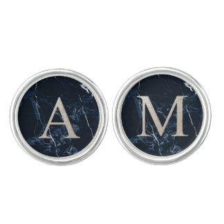 PixDezines DIY Monogram Faux Silver A-Z, Marble Cufflinks