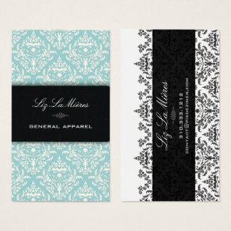 PixDezines diy Teal+Pearl Céline Vintage Damask Business Card