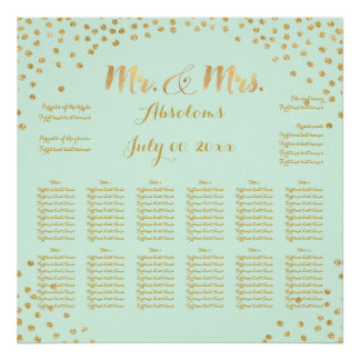 PixDezines DIYcolor/faux gold specks/seating chart Poster