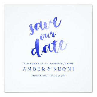 PixDezines Electric Blue/Save Date/DIY Background 13 Cm X 13 Cm Square Invitation Card