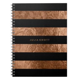 PixDezines faux copper foil/black stripes Notebook